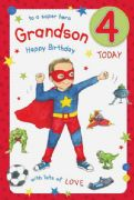 Grandson Age 4 Birthday Card